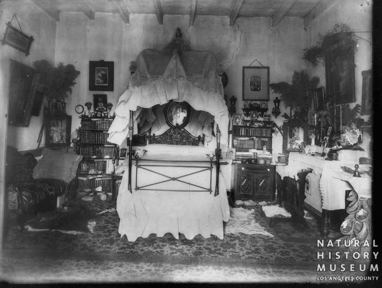 Bedroom in the main adobe at Rancho Camulos. Undated photo (probably about 1890 when several other photographs were shot at the ranch).