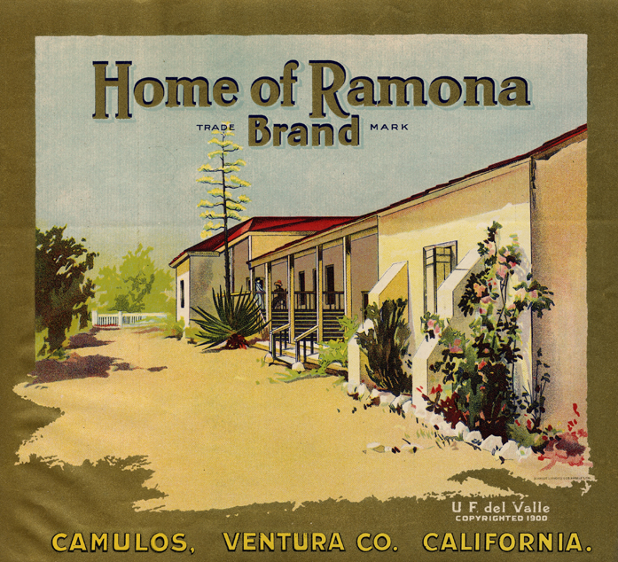 "Fruit crate label, ""Home of Ramona Brand"" with view of south veranda at Rancho Camulos, 1930's."