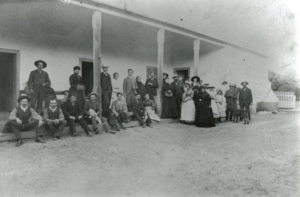 South Veranda of the Del Valle family adobe at Rancho Camulos, probably late 1880s or 1890s.