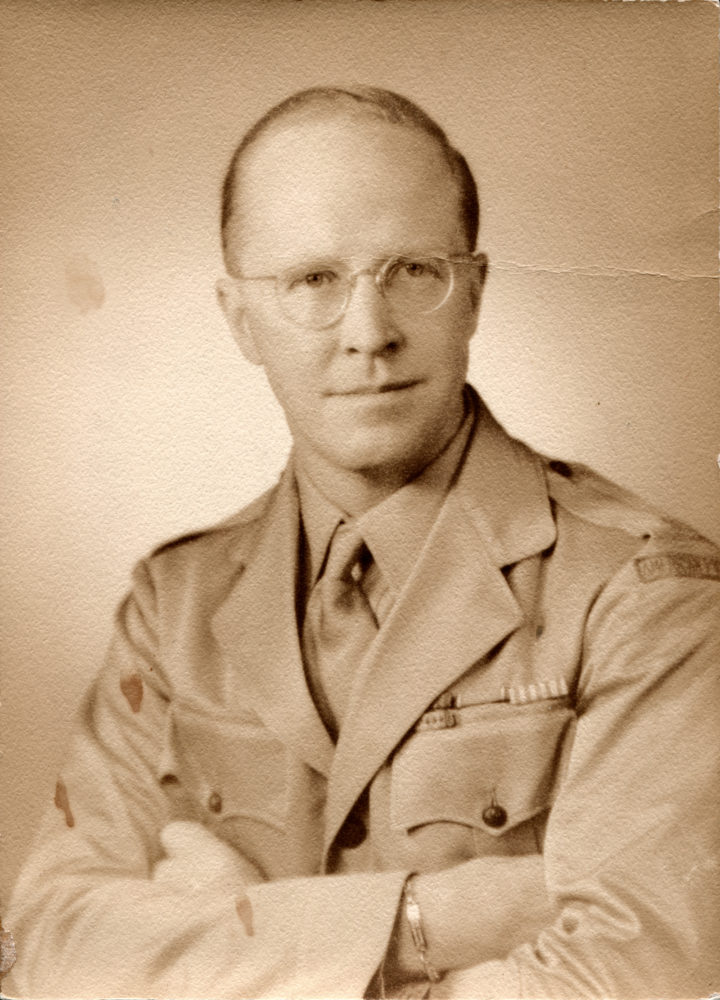August Rübel, owner of Rancho Camulos, in his American Field Service uniform during World War II. Undated 5x7-inch sepia print by Lane Studios Inc., 1480 Broadway, New York City.