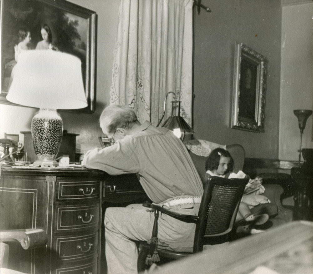 August Rübel, owner of Rancho Camulos, at his writing desk in the main adobe.