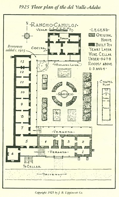 Floor plan of the Del Valle adobe at Rancho Camulos, published in 1925 by J.P. Lippincott Co.