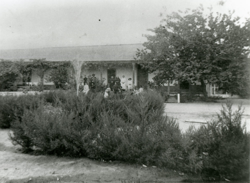 Inner courtyard of the Del Valle family adobe at Rancho Camulos, probably late 1880s or 1890s.