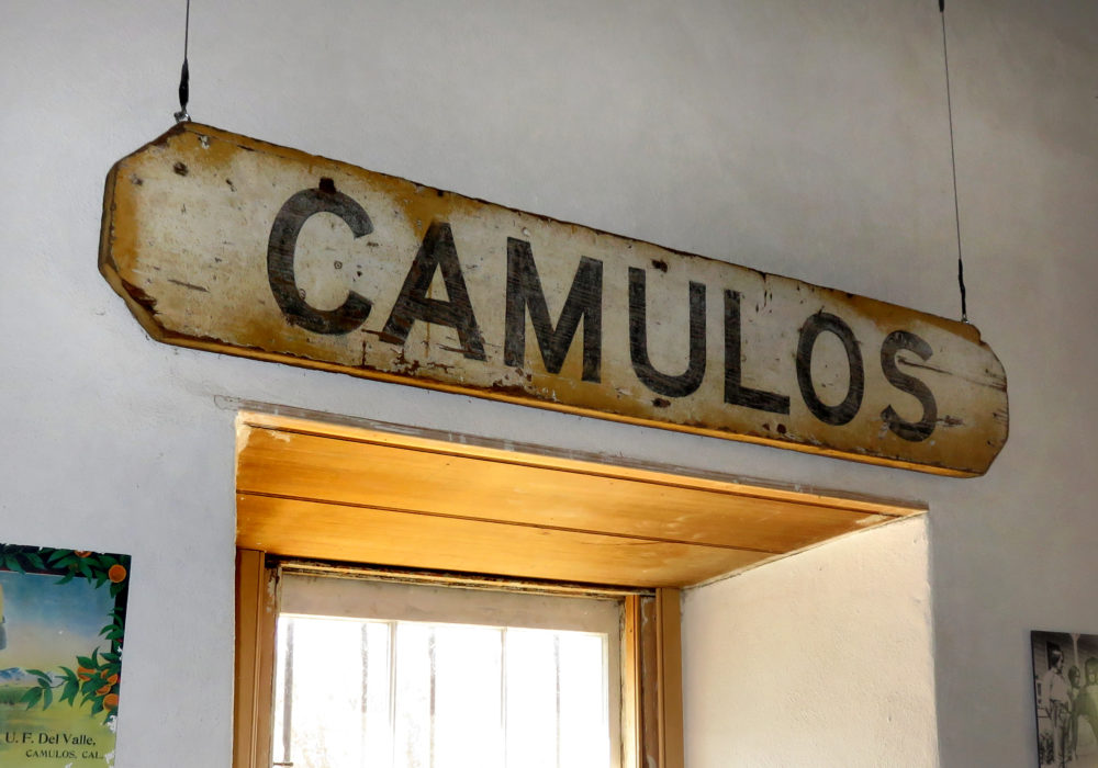 Sign from the Southern Pacific Railroad's Camulos depot.