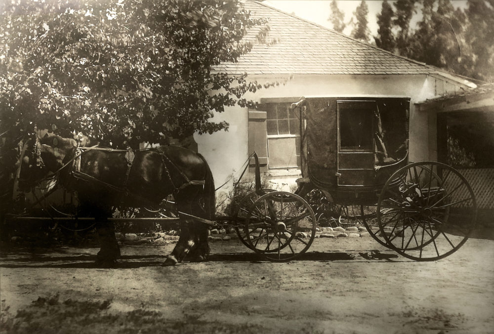 The Del Valle Buggy in its original condition. Undated photograph. Manufactured about 1850 by Miller & Stevens of 368 Broadway in New York City. Purchased by del Valle family. The buggy remained behind in 1924 when Rancho Camulos was sold to August Rubel. Restored in 2008 by museum volunteers Pat and Ralph Rees.